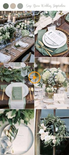 Table decoration wedding - 30 + Sage Green wedding ideas for 2019 trends - page . Wedding table decorations – 30 + Sage Green wedding ideas for 2019 trends – page 2 of 2 Table Decoration Wedding, Backyard Wedding Decorations, Wedding Table, Wedding Cakes, Green Decoration, Table Decorations, Wedding Reception, Centerpiece Ideas, Decor Wedding