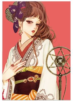 Sixth petal tributary red illustration card collection 2016 - Japanese Illustration, Manga Illustration, Watercolor Illustration, Illustrations, Anime Art Girl, Manga Art, Anime Girls, Geisha Art, Poses References