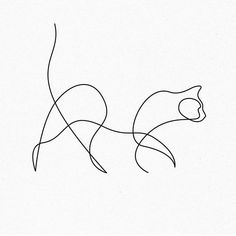 Different: you draw with one stroke and on this . - Anders: You draw with one stroke and on this … – - Delicate Tattoo, Subtle Tattoos, Small Tattoos, Minimalist Tattoo Meaning, Minimalist Art, Minimalist Cat Tattoo, Minimalist Drawing, Minimal Tattoo, One Line Animals