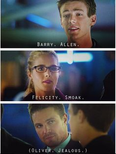 Ha ha- Love it! Arrow - Felicity, Oliver Barry #2.8 #Season2 #Olicity:
