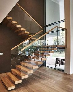 modern home accents Modern Staircase Design Ideas - Surf pictures of modern stairs and uncover design and layout ideas to inspire your very own modern staircase remodel, including special barriers and also storage . Glass Stairs Design, Home Stairs Design, Interior Stairs, Dream Home Design, Modern House Design, Stair Design, Staircase Design Modern, Staircase Contemporary, Design Design
