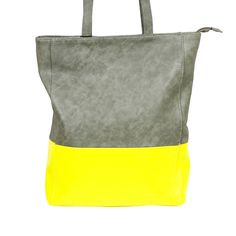 Street Level Color Block Tote Grey/Neon Yellow