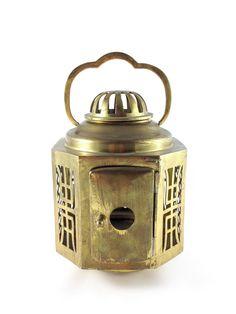 Vintage Brass Lantern - Oriental Garden Lantern Hollywood Regency