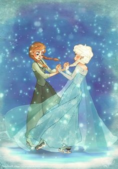 Anna & Elsa ice skating | Disney Frozen
