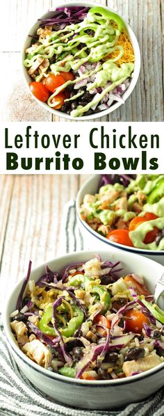 Leftover Chicken Burrito Bowls with Avocado Crema | honeyandbirch.com