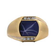 Gold and Diamond Fancy Antique Cut Star Sapphire Men's Ring by gemologica on Etsy