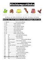 Eine Wortliste (Nomen-Verben-Adjektive) für das Thema KLEDUNG für Anfänger. - DaF Arbeitsblätter