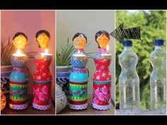 Dolls diya using Plastic Bottles for Diwali Decorations / DIY Home Decor. 92719327 Home Improvement Host. Ideas For Do It Yourself Rustic Home Decor Diy Home Crafts, Diy Arts And Crafts, Diy Crafts For Kids, Clay Crafts, Craft Ideas, Diya Decoration Ideas, Diwali Decorations At Home, Plastic Bottle Crafts, Diy Bottle