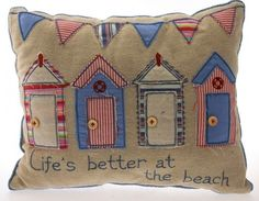 Seaside / Nautical Cushions - Natural Background with Beach Huts or Deckchairs Nautical Cushions, Nautical Quilt, Free Motion Embroidery, Free Machine Embroidery, Embroidery Applique, Sewing Appliques, Applique Patterns, Applique Cushions, Beach Quilt