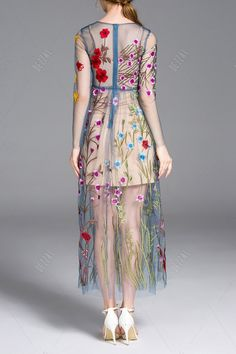 Cami Dress and Flower Embroidery Gauze Dress Twinset