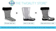 It's that simple! #TwoAlity #BootsByTwoAlity #ClearBoots #InterchangeableLiners #Fashion #Boots #RainBoots #SnowBoots #Style #MadeintheUSA #Unique #Invention