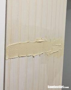 How to hide seams in Beadboard - Sawdust Girl® Beadboard Wainscoting, Bathroom Beadboard, Wainscoating Ideas, Bead Board Walls, Sawdust Girl, Basement Walls, Basement Ideas, Bathroom Inspiration, Bathroom Ideas