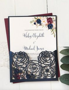 Navy and Burgundy wedding invitation from Love of Creating Design