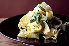 Paparedelle with greens and ricotta:  NYT Cooking: This is the kind of pasta dish you could make for a dinner party when you have little time to prepare food in advance. Seek out fresh ricotta at Italian markets for best results.