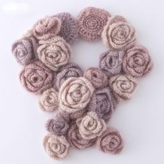 This item is not available. Scarf knitted roses angora boho style hand knitting by AlisaSonya Always aspired to learn how to knit, although not sure. Col Crochet, Crochet Collar, Freeform Crochet, Irish Crochet, Crochet Shawl, Knitting Designs, Knitting Patterns, Crochet Patterns, Knitting Ideas