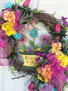 Garden Spring Mixed Round Summer Grapevine Wreath by WilliamsFloral on Etsy https://www.etsy.com/listing/386593562/garden-spring-mixed-round-summer