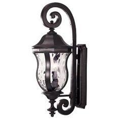 Illumine 3-Light Wall Mount Lantern Black Finish Clear Watered Glass-CLI-SH202851648 at The Home Depot