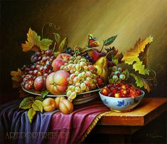paintings online Oil on canvas still life of fruit