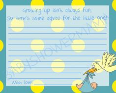 Yellow Polkadot Baby Shower Advice For Mommy by BabyShowerMama, $6.00