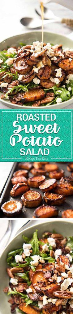 Roasted Sweet Potato Salad - magical combination of arugula/rocket, pecans, goats cheese or feta, a sprinkle of bacon and a beautiful Honey Lemon dressing.