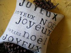 Joyeux Joyeux Joyeux Noel Burlap Pillow