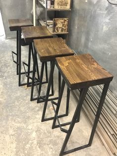 Industrial style bar stool, pub stool, wood and metal stool Ashley Furniture Chairs, Outdoor Furniture Chairs, Outdoor Lounge Chair Cushions, Leather Dining Room Chairs, Upholstered Dining Chairs, Furniture Ideas, Balcony Table And Chairs, Cafe Chairs, Metal Stool