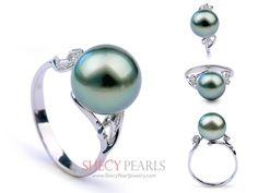 Black Cultured Tahitian Pearl Ring , 10.0mm-11.0mm , AA+