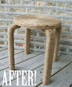 Rope wrapped chair. #Rope #Hemp #Stool #DIY #Craft #Recover