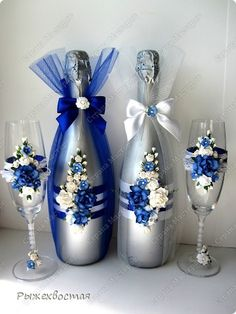 Decorative Bottles: Wedding Bottles (Continued) More - Read More - Source by contact_DecorHome Recycled Glass Bottles, Glass Bottle Crafts, Wine Bottle Art, Decorative Bottles, Wine Bottles, Wedding Wine Glasses, Wedding Bottles, Wedding Champagne, Decorated Wine Glasses