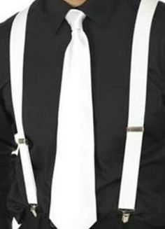 JC - 1920's Gangster's White Suspenders and White Tie