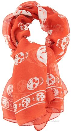 Alexander McQueen skull scarf - white on coral Girly Outfits, Pretty Outfits, Orange Color, Orange Orange, Orange Crush, Bow Scarf, Skull Scarf, Skull Fashion, Just Peachy