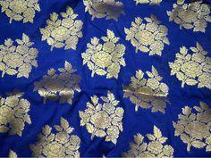 Brocade Fabric Blue Gold indian brocade Wedding Dress | Etsy Brocade Fabric, Jacquard Fabric, Ikat Fabric, Textile Design, Fabric Design, Floral Design, Gorgeous Fabrics, Love Sewing, Blue Gold