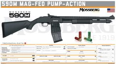 O.F. Mossberg & Sons, Inc. -  590M Mag-Fed Pump-Action Shotguns, Firearms, Military Brat, Tactical Shotgun, Future Weapons, Hand To Hand Combat, Futuristic Art, Weapon Concept Art, Guns And Ammo