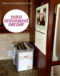 Mini Kitchen Command Center!  If you don't have a lot of wall space, or are just looking for a way to keep papers organized and de-clutter your kitchen, this is for you!  Simple, inexpensive, and effective!!  {www.simplykierste.com}