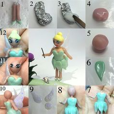 TINKERBELL - 1. To make her legs I used wire to get the initial shape, and covered them with cover pink acrylic, and added her shoes with green acrylic 2. To build the bulk of her body, i used tin foil 3. I covered the foil with white acrylic, and then a layer of cover pink acrylic 4. To make her head I place a large bead of cover pink on form paper 5. When it was pliable, I rolled it in my fingers to create the ball shape 6. I created green leaf shapes for her skirt 7. I added her body to…