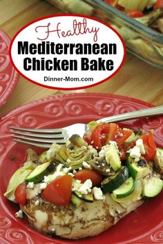 Mediterranean Chicken Bake - One Pan! Low-carb Mediterranean Chicken Bake is perfect for the South Beach Diet Phase Mediterranean Chicken Bake, Mediterranean Diet Recipes, Low Carb Dinner Recipes, Cooking Recipes, Baked Chicken, Chicken Recipes, Meal Planning Website, Stomach Fat Burning Foods, Healthy Snacks