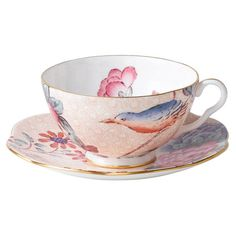 Wedgwood Cuckoo Cup & Saucer Set in Peach from the Fanciful Fare event at Joss and Main!