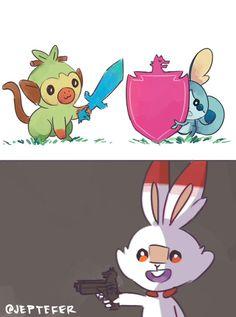 pokemon sword and shield and gun Pokemon Mew, Pokemon Funny, Pokemon Fan Art, Pokemon Fusion, Funny Pokemon Pictures, Pokemon Images, Pokemon Stuff, Pokemon Soulsilver, Doremi Anime