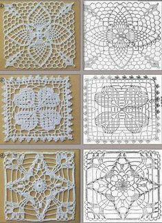Abacaxi Crochet, Trevo e Estrela Motivos! / Crochet Pineapple, Clover and Starcrochet pinapple, clover and star motifs! by Kat K.Crochet block of a pineapple design, four-leaf clover and a four-point star.lacy crochet motifs - these are quite pretty! Crochet Squares, Crochet Motif Patterns, Crochet Blocks, Crochet Diagram, Crochet Chart, Thread Crochet, Love Crochet, Crochet Granny, Filet Crochet