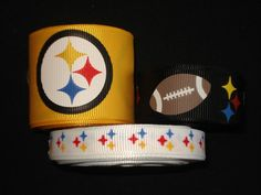 "7//8/"" PITTSBURGH STEELERS CHRISTMAS 1 GROSGRAIN RIBBON BOWS DECORATIONS"