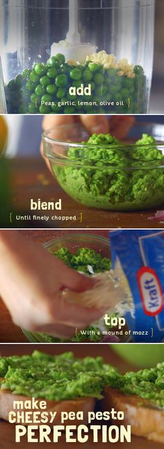 A sweet take on an old favorite with Kraft Natural Cheese. Try Cheesy Pea Pesto made with peas, garlic, lemon zest and olive oil.