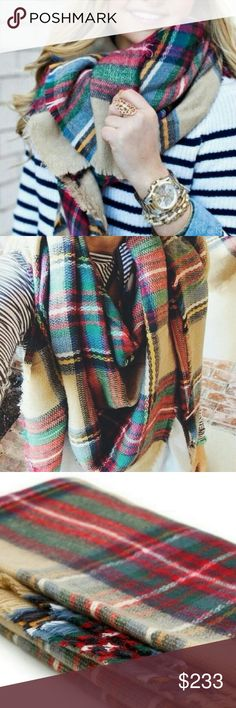 Spotted while shopping on Poshmark: Accessories | Tan plaid blanket scarf multi…