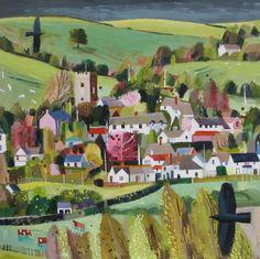 -Bickleigh Village- acrylic on canvas SOLD - Mary Sumner Landscape Art, Landscape Paintings, Landscapes, Bg Design, House Illustration, Illustration Styles, Naive Art, Art Plastique, Artist Painting