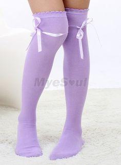 purple Bowknot is lace their legs knee-high Lolita socks