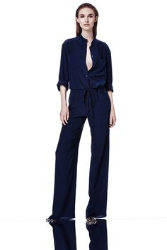 Ralph Rucci | Resort 2015 | 05 Navy belted 3/4 sleeve jumpsuit