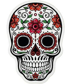 Vinyl Junkie Graphics Sugar Skull Sticker Dia de Los Muertos Decal Mexican Day of The Dead Stickers for Notebook car Truck Laptop Many Color Options Rainbow Tie Dye