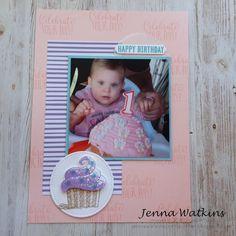 Hello Cupcake scrapbook page for Stamp 'n Hop Blog Hop - Sale-A-Bration - Jenna Watkins - #2019sab, #6x8scrapbooking, #hellocupcake, #jennawatkinscraftycorner, #scrabooking, #stampinup, #stampnhop Book Layout, Happy Birthday Cards, Scrapbooks, Scrapbook Pages, Stampin Up, Corner, Paper Crafts, Cupcakes, Crafty