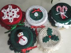 Candle Jar Toppers, hand crocheted USA, Kathy's Holiday