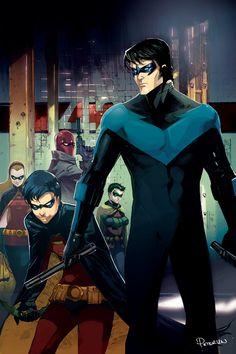 Dick Grayson (1st Robin, Nightwing), Jason Todd (2nd Robin, Red Hood), Tim Drake (3rd Robin, Red Robin),Stephanie Brown (4th Robin, 6th Batgirl), Damian Wayne (5th Robin, Son of Talia Al-Ghul & Bruce Wayne)