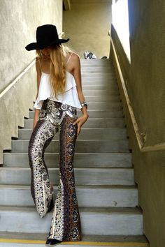 Bohemian, boho chic, hippie style, embellishment, flares, vest top, summer, festival, accessories, floppy hat, fashion,
